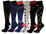 Differenttouch Compression Socks for Women (6 Pairs),Moderate 15-20 mmHg compression stocking for Medical, Athletic, Varicose Veins, Air Travel, Pregnancy, Circulation and recovery (ASSOR-6E)