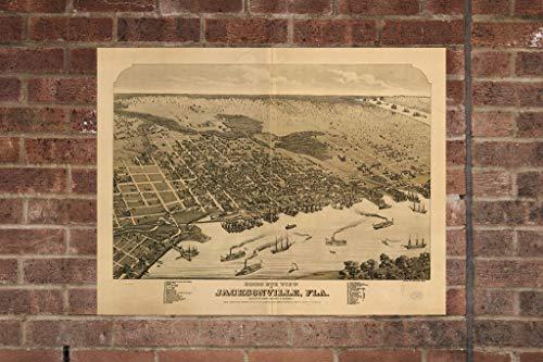 Retro Printing Company Vintage Jacksonville Map, Aerial Jacksonville Photo, Historical Vintage Jacksonville FL, Old Jacksonville Photo, Home Decor, Wall Art (Fl Home Decor Jacksonville)