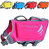Vivaglory Skin-Friendly Neoprene Dog Life Jacket, Life Vest for Pets with Dual Rescue Handles and Superior Buoyancy, Reflective & Adjustable, Pink, Extra Large