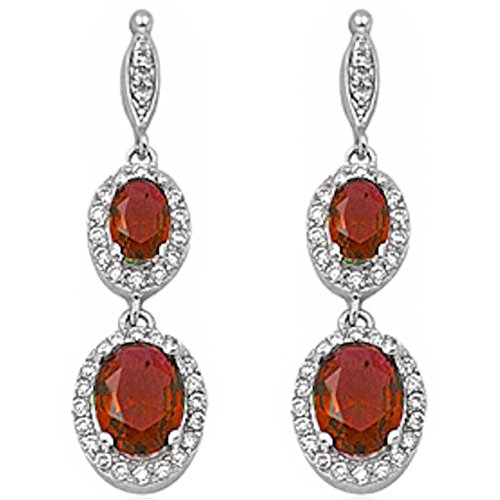 Halo Drop Dangle Chandelier Earring Oval Simulated Red Garnet Round Cubic Zirconia 925 Sterling Silver