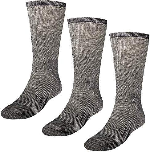 DG Hill 3 Pairs 80% Merino Wool Socks for Men and Women, For Hiking, Crew Style, (Black, Gray, Brown)