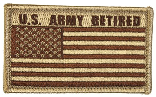 U.S. Army Retired American Flag 2 x 3 Inch Tan Hook and Loop Patch