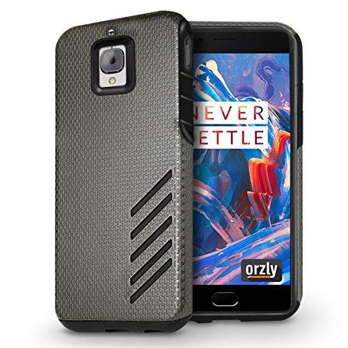 Orzly® Grip-Pro Case para OnePlus 3 SmartPhone (2016 Modelo / Dual SIM Version Teléfono Móvil) - Funda durable y ligero Capa Doble de mayor agarre y defensa - AZUL NEGRO para OnePlus 3 / 3T