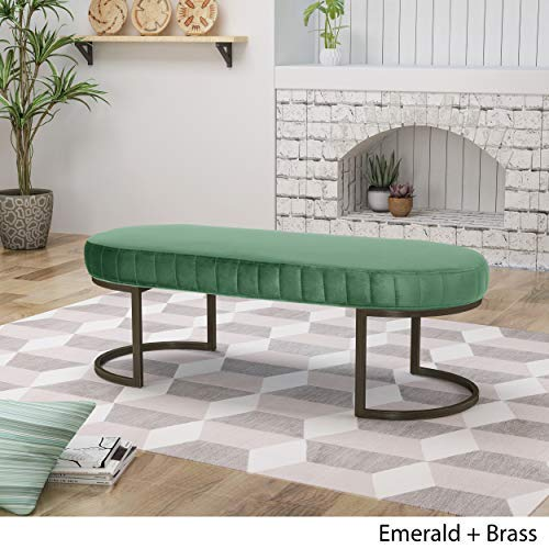Christopher Knight Home Nash Velvet Bench Side Channels Glam Emerald and Brass,
