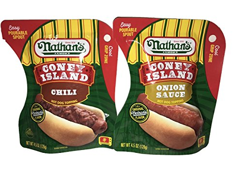 Nathan's Famous Coney Island Topping Set! One Chili Hot Dog Topping! One Onion Sauce Hot Dog Topping! Easy Pourable Spout! Original Nathans - Hot For Toppings Good Dogs
