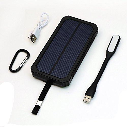 X-DRAGON 15000mah Solar Ladegerät Regenbestädiges, Staubdichtes und Stoßfestes Duale USB Ports Power Bank Externe Akku Backup Batterie für iPhone, iPad, Handy, Tablet, Kamera usw.(Schwarz)