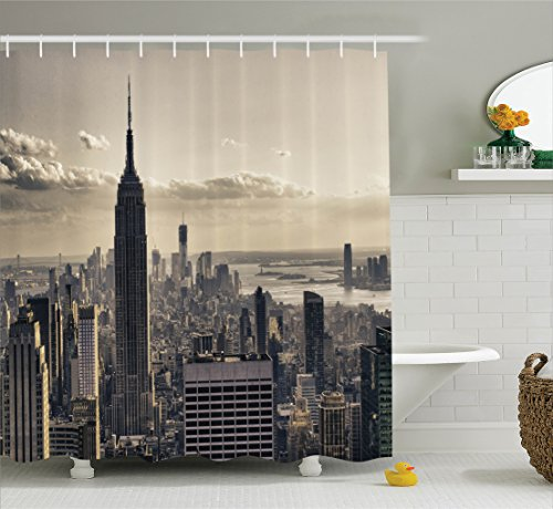 Family Time Photo (NYC Decor Shower Curtain by Ambesonne, Aerial View of NYC in Winter Time American Architecture Historical Popular Metropolis Photo, Fabric Bathroom Set with Hooks, 75 Inches Long, Beige and Grey)