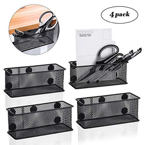 SAFETYON Wire Mesh Magnetic Storage Basket Tray Metal Desk Caddy Storage Organizer for Refrigerator Whiteboard Black