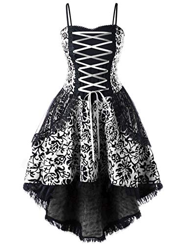 KENANCY Women's Floral Gothic Corset Dress Plus Size Lace Trim Steampunk Vintage Party Dress Cosplay Costume Dress(White,3XL)
