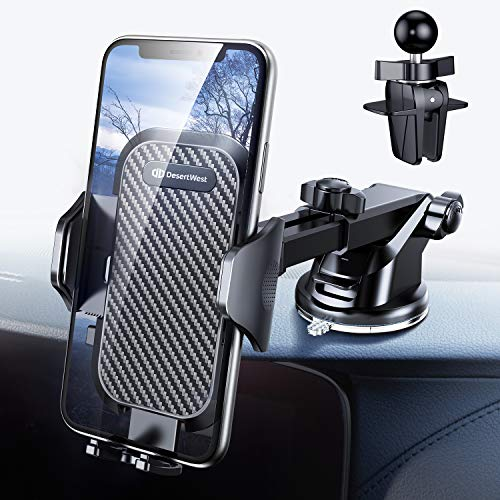 DesertWest Cell Phone Holder, Car Phone Mount Dashboard/Windshield/Air Vent Compatible with iPhone XR Xs Max Xs X 8 7 6+, Samsung Galaxy S10 S10+ S10e S9 S8 S7, LG Google Huawei, etc