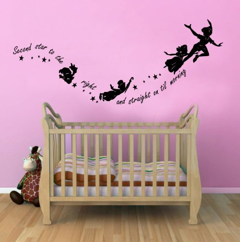 Nice Peter Pan Second Star To The Right Childrens Wall Sticker Mural For Kids  Bedroom 100x55 Black Part 11