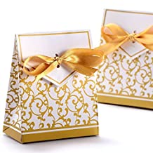 GONGKUAN 50PCS Wedding Favour Candy Boxes Gift Boxes With Ribbons Party Favor (Gold)