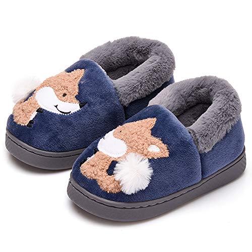 ALPARA Boys Girls Slippers Fur Lined Kids House Slippers Cute Animal Home Slipper Toddler/Little Kid, Navy Blue 16-17