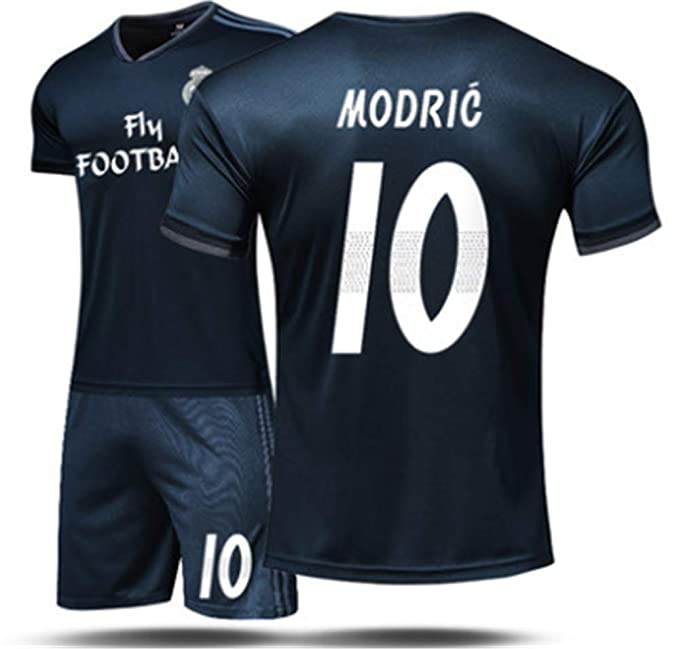 f93914a5fdd Amazon.com  LISIMKE Soccer Team Away Soccer 2018 19 Real Madrid Modric  10  Kid Youth Replica Jersey Kit   Jersey   Shorts   Socks  Clothing