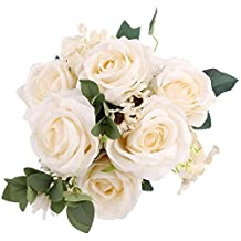 SOLEDI Artificial Flowers 11 Heads Lifelike Happiness Rose For Wedding Home Bar Decor(White)