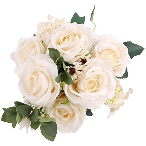 Lifelike Silk Rose Cream SOLEDI 11 Heads Artificial Flowers for Bridal Bouquet Wedding Living Room Table Home Garden Decoration
