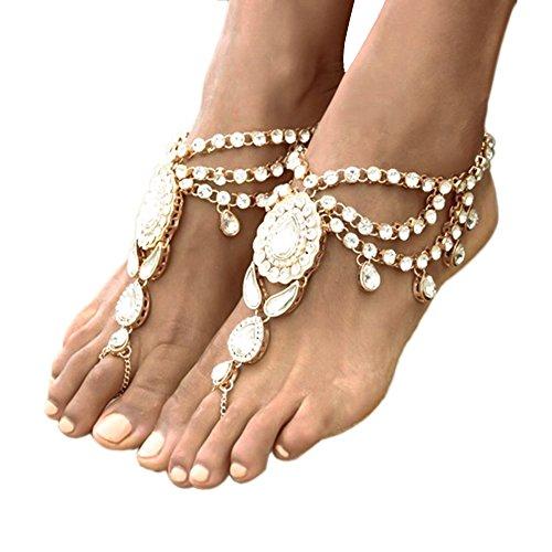 Ingemark 2 PCS Crystal Beach Wedding Foot Jewelry Barefoot Sandals Toe Ring Boho Anklet with Multi Tassel