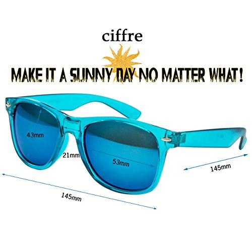 Bleu Lunette Ciffre UV400 Norme Retro Turquoise Miroir Lunettes de Soleil STYLE UV®400 Nerd Glas Vintage OPOxrwvgq