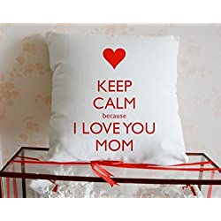 keep calm because i love you mom background Decorative cotton blend linen Throw Pillow Covers /Pillow Shams,18x18inch,one side,mina-shop