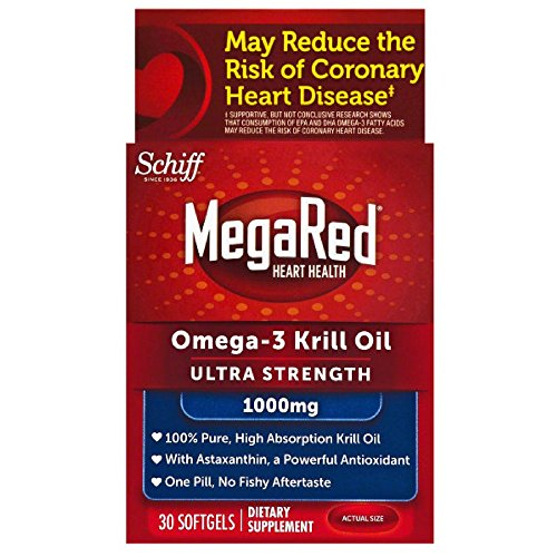 MegaRed 1,000mg Ultra Strength Omega-3 Krill Oil, 30 softgels (Pack of 7) by Schiff