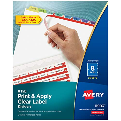 Avery 8-Tab Binder Dividers, Easy Print & Apply Clear Label Strip, Index Maker, Pastel Tabs, 25 Sets (11993) Avery Reinforced Label Maker