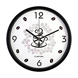 JustNile 12-Inch Silent Wall Quartz Clock with Modern & Creative Black Frame; Extreme Time Precision; Smooth Hand Non-Ticking Movement – Coffee and Coffee Bean design