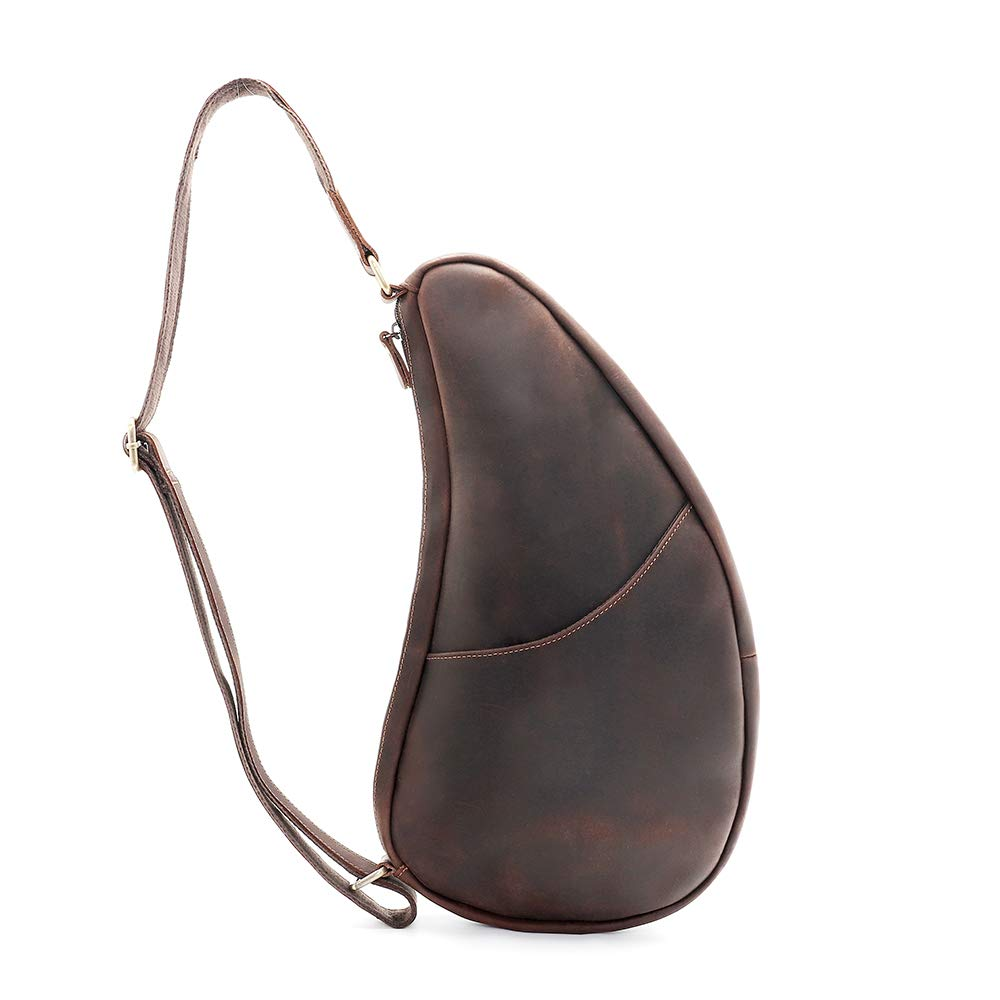 Men's Vintage Genuine Leather Sling Bag Chest Shoulder Backpack Crossbody Bag for Men Outdoors (Brown)