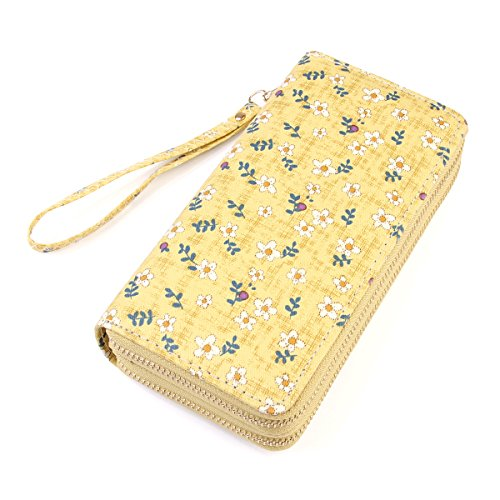 (Lovely Floral Print Zip Around Wallet - Cute Flower Pattern Double Zipper Clutch Long Purse Card & Phone Wristlet Strap (Daisy - Yellow))