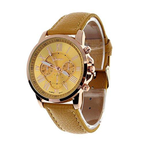 TPT4122705 Fashion Geneva Roman Numerals Faux Leather Analog Quartz Women Wrist Watch for Men Women Bracelet Watch (Yellow)