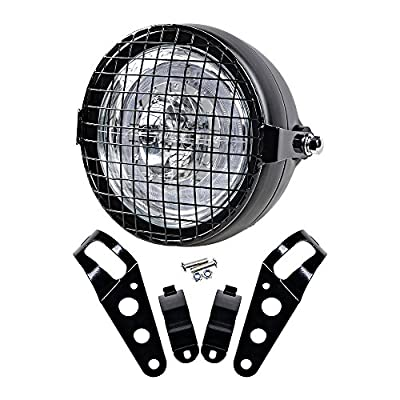 """6.5"""" CREE LED Retro Clear Lens Headlight + Headlamp Wire Mesh Mask Grille w/ Muount Clamp for Cafe Bobber Racer"""