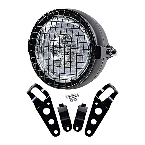 """Price comparison product image 6.5"""" CREE LED Retro Clear Lens Headlight + Headlamp Wire Mesh Mask Grille w / Muount Clamp for Cafe Bobber Racer"""