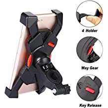 Bike Mount for Phone - Universal Cell Phone Bicycle Handlebar Holder Cradle for iPhone 5 5S 5C 6 6S 7, Samsung Galaxy S7 S6 Edge S5 S4, Nexus and Other Smartphones Up To 6.5 Inches