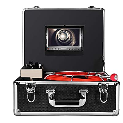 Aukfa Sewer Camera with Distance Counter and DVR 30m-100ft Cable - Drain Pipe Inspection Camera with 7 Inch LCD Monitor Waterproof IP68(8GB SD Card)