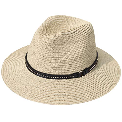 (JOYEBUY Womens UPF50 Foldable Summer Straw Hat Wide Brim Fedora Sun Beach hat (Style J-Khaki) )