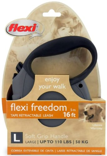 Flexi Freedom Soft Grip Retractable Belt Dog Leash, Large, 16-Feet Long, Supports up to 110-Pound, Grey/Black, My Pet Supplies