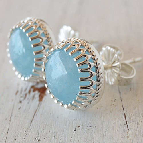 Aquamarine earrings sterling silver Studs 8 mm March Birthstone Natural stone Marina Jewelry Earrings