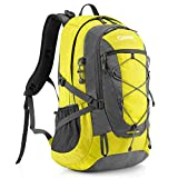 Gonex 40L Backpack for Hiking Camping Outdoor Trekking Daypack, Waterproof Backpack Cover included (Yellow+Grey)