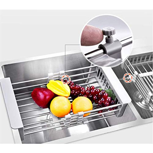 Qook Adjustable 304 Stainless Steel Drainer Basket Dish Tray for Vegetable Fruit, On Counter Dish Rack or In Sink Over Sink Kitchen Basket Dish Drying Rack ()