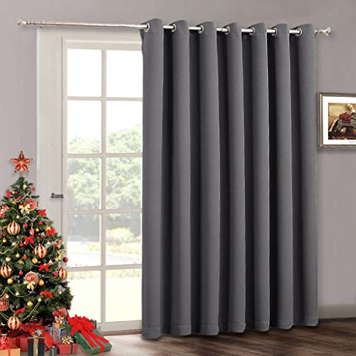 Blackout Patio Door Curtain Bedroom - Home Decoration Adjustable Grommet Curtain Thermal Insulated Vertical Blind Window Treatment Drapes for Living Room Sliding Door, Wide 100 x Long 84 inch, Grey
