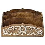 Indian Heritage Letter/Mail Sorter 8x13 Carved Mango Wood Design in Natural Wood and White Distress Finish