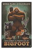 Lantern Press Estes Park, Colorado - Respect Our Wildlife - Bigfoot (10x15 Wood Wall Sign, Wall Decor Ready to Hang)