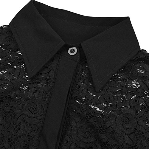 BYD Mujeres Vestidos Costura de Encaje Lace Retro Oscilacion A-Line Rockabilly Plisado Vestido de Cóctel Dama Falda Grande Negro