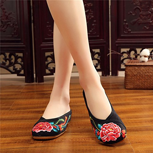 Oxford Slipper Black AvaCostume Loafer Round Lotus Womens Embroidery Toe qw0X1