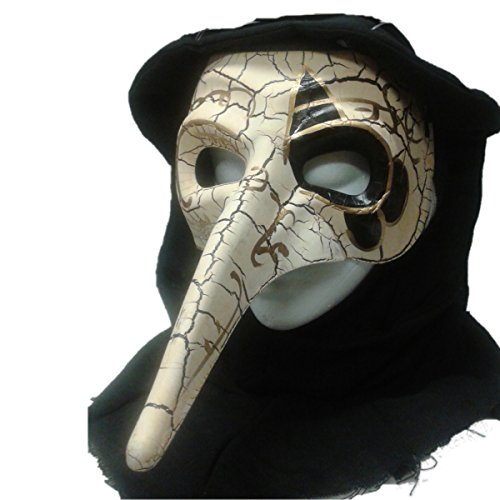 Venetian Bird Mask (Crackle Venetian Raven Mask with Shroud - Ivory Style 2)