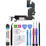 OmniRepairs Charging USB Dock Port Flex Cable Replacement with Microphone and Headphone Audio Jack Compatible for iPhone 6 Plus Model (A1522, A1524, A1593) with Premium Repair Toolkit (White)