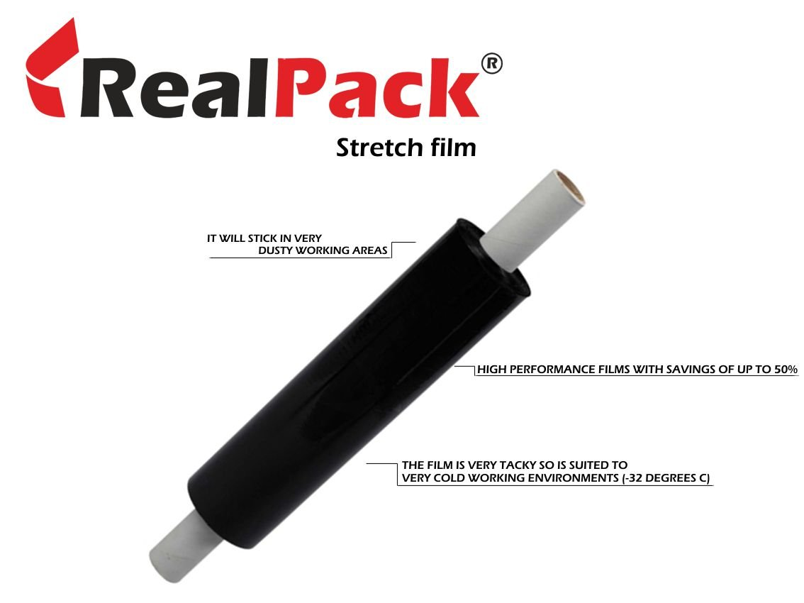 REALPACK® 1 x BLACK EXTENDED STRONG ROLL PALLET STRETCH SHRINK WRAP CAST PARCEL PACKING CLING FILM SIZE - 400mm X 300m IDEAL FOR WRAP FREE FAST SHIPPING REALPACK®