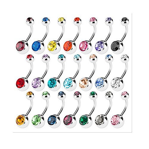 rs Belly Button Ring Surgical Steel Hypoallergenic Lead and Nickel Free,14 Gauge Navel Piercing Body Jewelry (15 PCS:Steel Ball) ()