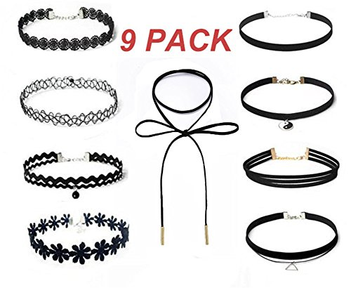 LONSANT Women Choker Necklaces Set Stretch Tattoo Choker Elastic for Women Girls (Harry Potter Dressing Up)