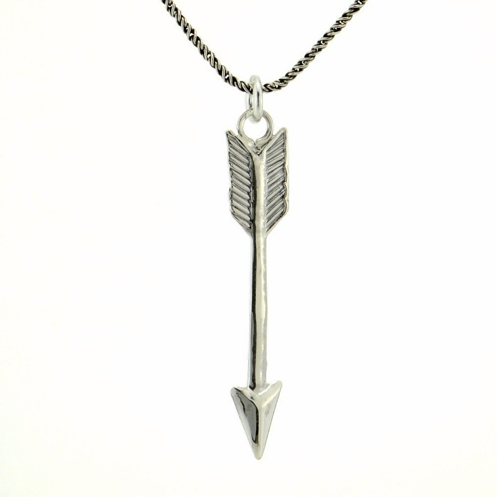 Arrow Necklace Antique Finish Sterling Silver Pendant Chain Love Jewelry Charm 18 Chain