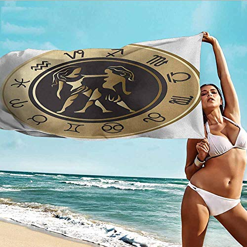 "Antonia Reed Sports Towel Balloon Zodiac Gemini,Birth Fortune and Prediction Cosmic Themes Circular Design Twins,Sand Brown Black White,Suitable for Home,Travel,Swimming Use 28""x55""inch"
